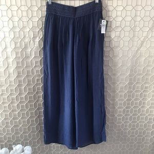 By & By Wide-leg Elastic Waist Pants Blue Size L